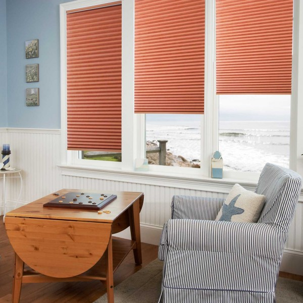 Double cell cordless honeycomb blind